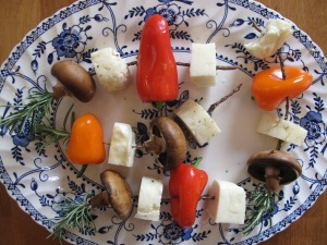 The Big Cheesy Barbeque: Halloumi Rosemary Skewers vegetable kebabs