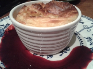 spenwood cheese souffle with blackberry sauce