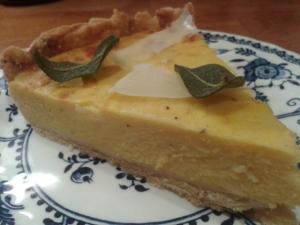 pumpkin sage and sheep's cheese tart