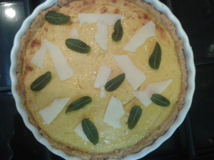pumpkin sage and whitmore sheep's cheese tart