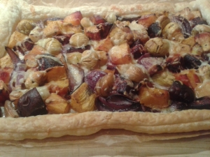 Roasted vegetables, chestnuts and smoked cheese autumn tart