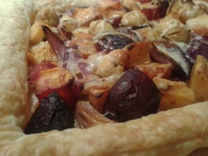 Roasted root vegetables, chestnuts and smoked cheese autumn tart