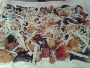 Roastd vegetables, chestnuts and smoked cheese tart greens of glastonbury cheese