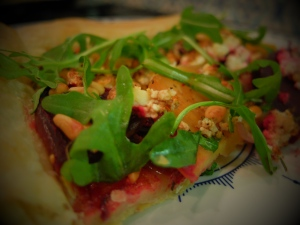Beetroot, Home-made Ricotta and Rocket Tart