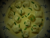 nettle gnocchi with cashel blue sauce