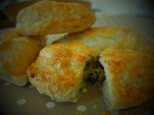 cheddar cheese pasties with sorrel and elephant garlic