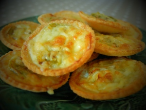 Roasted Green Tomato and Cheddar Bread Tarts