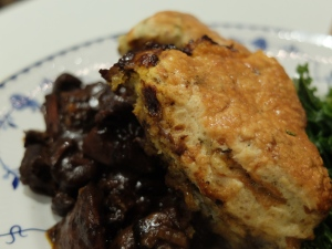 Peppered Venison with Stilton Scones