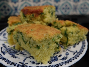 wild garlic and curd cheese cornbread